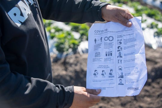 A Norcal Harvesting fieldworker shows a list of safety measures that according to the employee are being implemented in order to combat the COVID-19 pandemic. March 31, 2020.