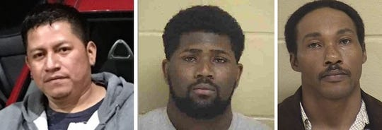 From left to right: Luis Gaona, Treydarrius Wright and Joseph McGilvery. The three men ware wanted by Shreveport police on domestic-violence related charges.