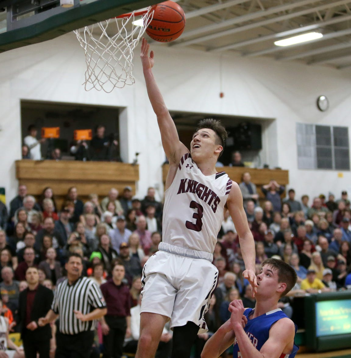 Aberdeen Christian senior Andrew Rohrbach goes in for a layup.