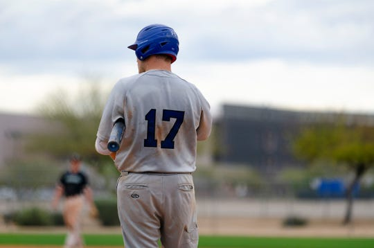 Dell Rapids native Nate McKee waits in the on-deck circle during a Dakota Wesleyan game in 2019.