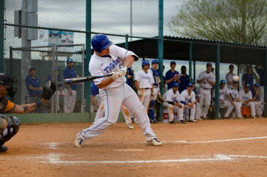 Dell Rapids native Nate McKee swings at the plate during a game in the 2019 season for Dakota Wesleyan.