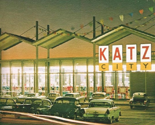 The building originally was a Katz City drug store.  This photo was taken in December 1961, soon after the store opened.