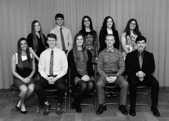 ROSE Banquet honorees from Hillcrest High School. Front row: Madison Grace Letterman, Garrett Noble Cates, Grace Madison Percival, Gibson Walker Bell, and Jacob Anthony Sausen. Back row: Emily Kay Craven, Troy Edward Lindsey, Leanna Megan Teudan, Sophia Marie Vaughn, and Mackenzie Madison Dalton.