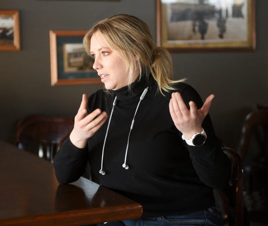 Hannah Reemts, manager of Old Capital Tavern, speaks about how the business has changed because of COVID-19 Wednesday, April 1, 2020, in Sauk Rapids.