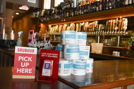 Old Capital Tavern is giving away toilet paper with each takeout order Wednesday, April 1, 2020, in Sauk Rapids.