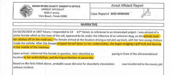 Excerpt from arrest affidavit