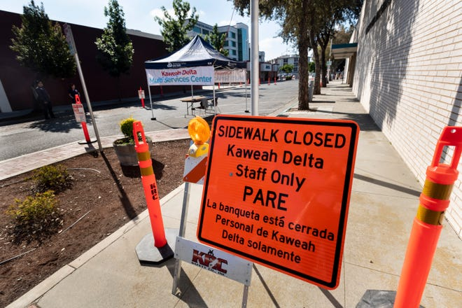 Floral Street between Acequia and Center and two parking lots were closed to accommodate Kaweah Delta nurses collecting nasal swabs for COVID-19 testing on Wednesday, April 1, 2020. Appointments are required.