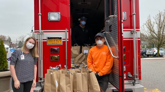 The Piermont Fire Department helps deliver the first of many Piermont Provides meals to Montifore-Nyack Hospital.