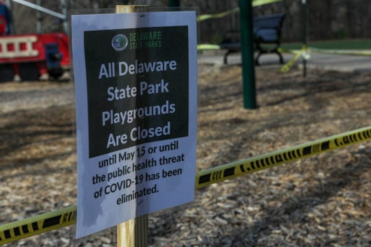 Brandywine Park playground sits empty, surrounded by caution tape during the coronavirus pandemic on Wednesday, April 1.