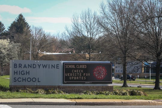A sign broadcasts the closure of Brandywine High due to the coronavirus pandemic on Wednesday, April 1. All Delaware schools have been shut down through at least May 15 and are working to adapt to distance learning.
