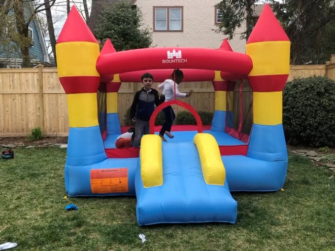 Tara Higgins, of West Orange, New Jersey, bought a bounce house to keep her kids entertained amid the coronavirus pandemic.