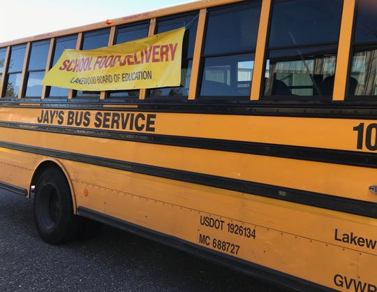 One of the school buses pulled over for inspection by law enforcement on April 2, 2020.
