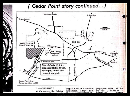 A 1976 map of the proposed site for a Cedar Point theme park in Battle Creek, Mich.
