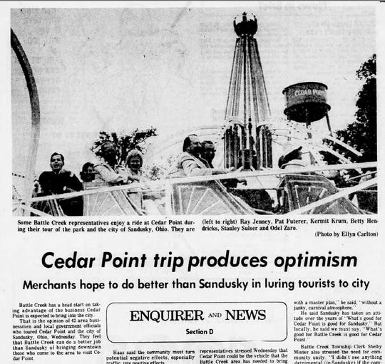 An August 22, 1976 edition of the Battle Creek Enquirer shows Battle Creek business owners and politicians on a ride at Cedar Point in Sandusky, Ohio.