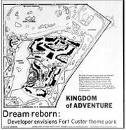 A map of a propossed amusement park at Fort Custer as it appeared in the Oct. 31, 1982 edition of the Battle Creek Enquirer and News.