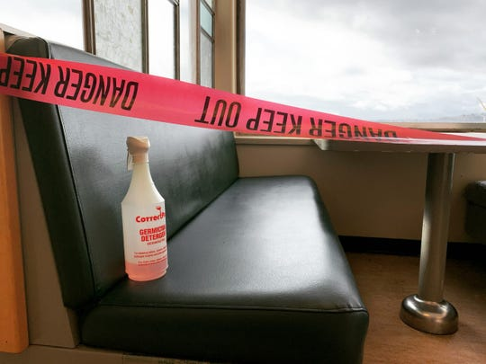 To help stop the spread of coronavirus, ferry workers have taken to disinfecting seats between sailings and taping off sections of the passenger cabins.