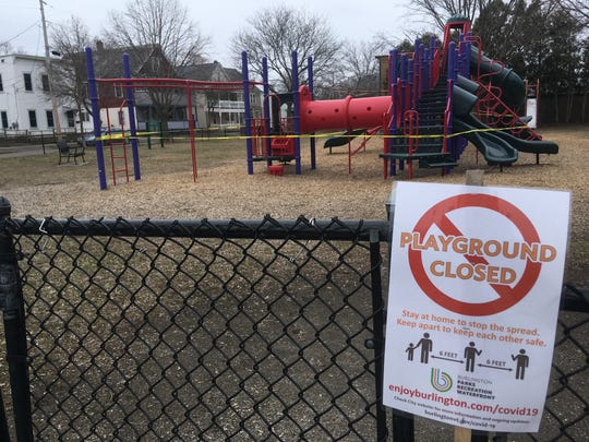 Roosevelt Park's playground in Burlington's Old North End is closed due to the spread of COVID-19, as shown on Thursday, April 2, 2020.