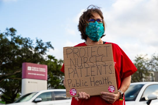 Sylvia Higgins a registered nurse at Corpus Christi Medical Center - Doctor's Regional protests the lack of personal protective equipment and COVID-19 preparedness at the hospital on Wednesday, April 1, 2020