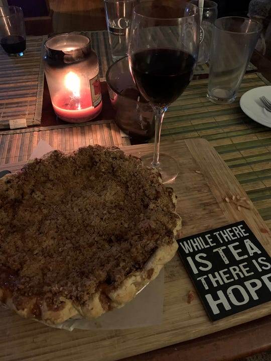 An apple crumb pie from Constellation Collective brightens up a quarantine evening.