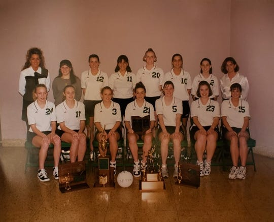 The 1996 Seton state championship team includes, from left: Standing, head coach Sue Fishburn Silbernagel, manager Jennica Bonomini, Kelly Perrmann, Emily Schachleiter, Sara Bachus, Traci Zureick, Allison Born, assistant coach Stephanie Jackson; seated, Amanda Lang, Kelly Vaughn, Laura Karnes, Annie Schroth, Julie Brassie, Karen Ratterman and Betsy Owens