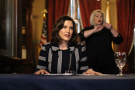 Governor Gretchen Whitmer gives an update on COVID-19 during a press conference on April 2, 2020.