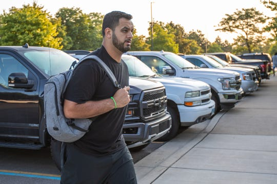 Oday Aboushi arrives for the first day of 2019 Detroit Lions Training Camp presented by Rocket Mortgage at the team's training facility on Wednesday, July 24, 2019 in Allen Park, Mich. (Detroit Lions via AP)