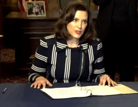 Gov. Gretchen Whitmer announces Michigan schools will remain closed for the remainder of the school year on Thursday, April 2, 2020.