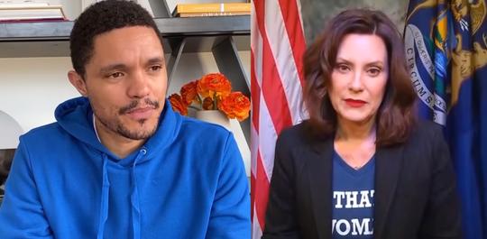 "Trevor Noah and Gov. Gretchen Whitmer speak together on ""The Daily Show."""