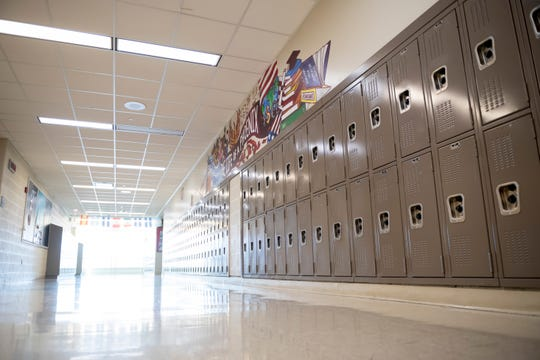 Empty hallways inside Renaissance high school, in Detroit, April 2, 2020. Due to the corona virus, all Michigan public schools were closed for the year by Governor Gretchen Whitmer.
