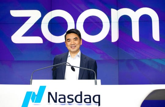 In this April 18, 2019 file photo, Zoom CEO Eric Yuan attends the opening bell at Nasdaq as his company holds its IPO in New York.