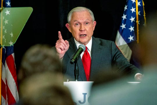Jeff Sessions addresses the crowd at his watch party following Alabama's state primary in this March 3, 2020, file photo in Mobile, Ala. Trump's campaign has since asked Sessions to stop promoting himself as an ally of the president in his U.S. Senate race in Alabama.