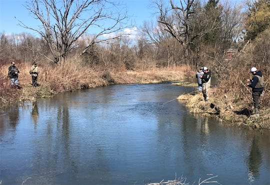 Anglers appear to be keeping a safe distance from one another in light of COVID-19 during Wednesday's opening day of trout fishing on Sing Sing Creek in the Town of Big Flats.