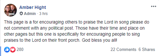 Praise on Your Porch Facebook post