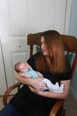 Lindsay Hardman with her infant son, Silas, who was born on March 22 at HealthPark Medical Center in south Fort Myers.
