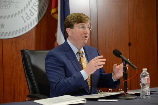Mississippi Governor Tate Reeves speaks during a press conference held on Thursday in Jackson at the Woolfolk Building. Reeves held the press conference to further discuss parameters of an executive-order issued for the state to shelter-in-place and the status of the state's handling of the coronavirus outbreak. Thursday, April 2, 2020.