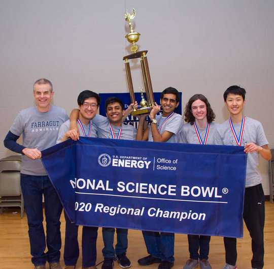 Farragut High School's Team 1 took home the top award at the Regional Science Bowl on Feb. 29 in Knoxville. Along with Coach Matthew Milligan, students Kevin Wang, Prajwal Jagadish, Aditya Bal, Luke Kronzer and Forest Chen qualified to compete in the national tournament.