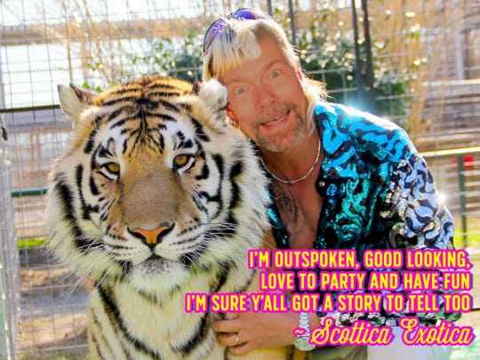 An illustration shows Market Square businessman Scot West's face on the body of 'Tiger King' subject Joe Exotic. West compared himself to Exotic, citing their eccentric personalities and their trouble with the law.