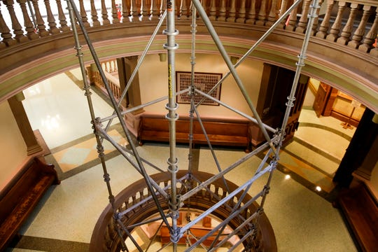 Scaffolding is erected inside the Tippecanoe County Courthouse, Thursday, April 2, 2020 in Lafayette.