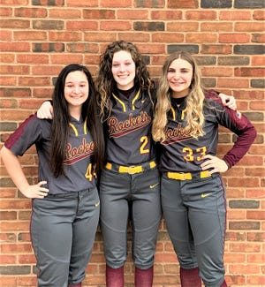 Berne Union softball seniors, from left to right, Paige Laughlin, Macie Staten and Whitney Evans have helped guide the Rockets to three consecutive Mid-State League-Cardinal Division championships and a 31-1 record in league play during that time.