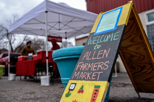 The Allen Farmers Market, photographed on Wednesday, April 1, 2020, in Lansing, remains open during coronavirus restrictions.