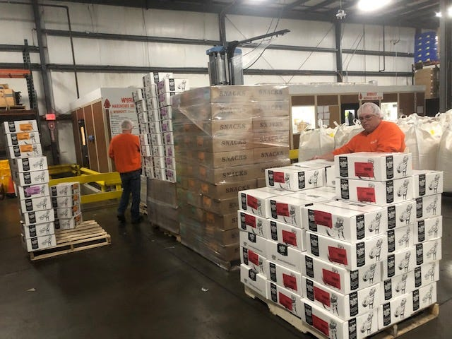 Wyandot, Inc. employees load up pallets of healthy snacks for delivery to local school districts in Marion County. The snacks have been distributed to area school children. Wyandot President & CEO Rob Sarlls said the company has donated more than 5,000 pounds of product to Marion County schools and first responders during the coronavirus outbreak.