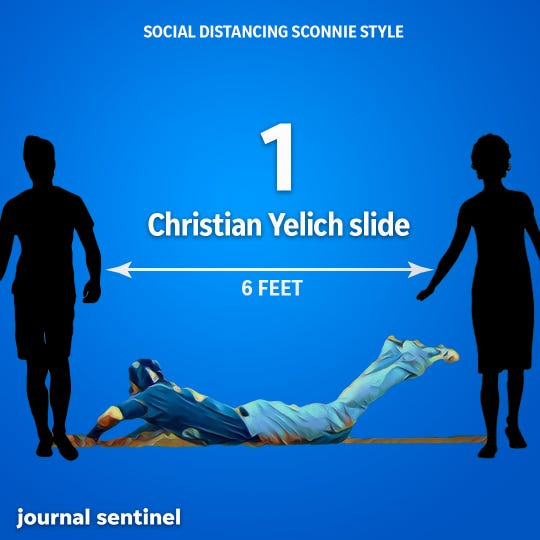 Social Distancing, Sconnie Style: Milwaukee Brewers star Christian Yelich is 6 feet 3 inches tall, so imagine him sliding into home to score the winning run to beat the Cubs. That should give you more than 6 feet of social distance.