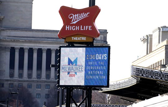 Signage at the Milwaukee Theater counts down the new number of days since Thursday's announcement that the 2020 Democratic National Convention in Milwaukee is pushed back from mid-July to the week of Aug. 17. But everything else remains in flux with the 2020 Democratic National Convention in Milwaukee.