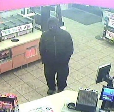 Greenfield police have released this surveillance photo of a suspect who robbed the Speedway at 4265 S. 60th St. in Greenfield on March 28. The suspect's vehicle is described as a dark-colored, 1997-2000 Honda.