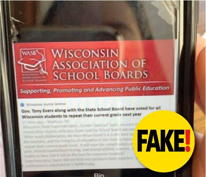 A doctored image of a social media post falsely said that Wisconsin  students would have to repeat their current grade next year.