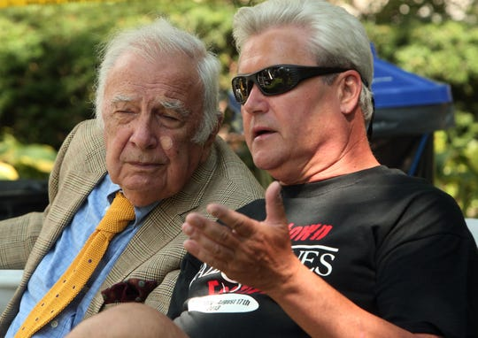 Bucky Pizzarelli and Morristown Mayor Tim Dougherty talk during the Third Annual Morristown Jazz & Blues Festival on the Morristown Green.
