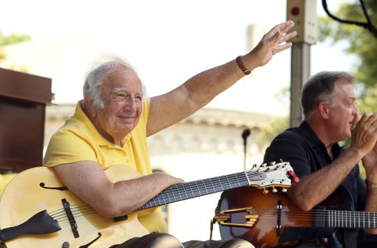 Legendary guitarist Bucky Pizzarelli, a festival favorite joined by son Martin on bass and his long-time partner Ed Laub, plus Aaron Weinstein on violin. The quartet celebrates Bucky's 90th birthday drawing from the Great American Songbook during the 6th annual Morristown Jazz and Blues Festival on the historic Morristown Green. August 20, 2016, Morristown, NJ