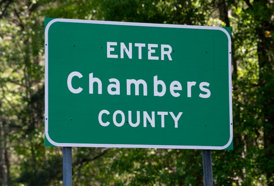 An entering Chambers County sign near Lanett, Ala., on Thursday April 2, 2020.