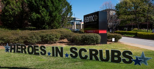Signage at the East Alabama Medical Center in Opelika, Ala., on Thursday April 2, 2020.