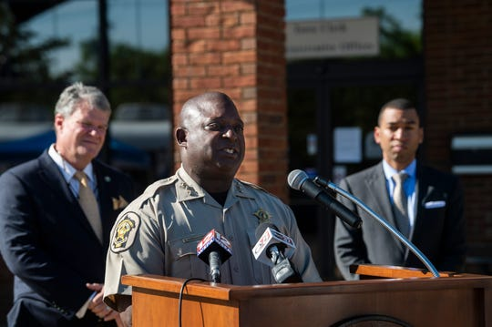 Montgomery Sheriff Derrick Cunningham during a press conference announcing a 10 p.m. to 5 a.m. curfew through out Montgomery County outside Pike Road Town Hall in Pike Road, Ala., on Thursday, April 2, 2020.